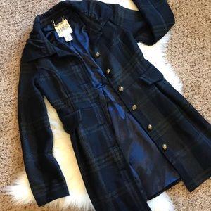 BB Dakota Plaid Wool Peacoat